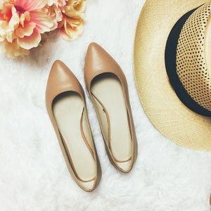 F21 Nude Beige Pointy Ballet Flats